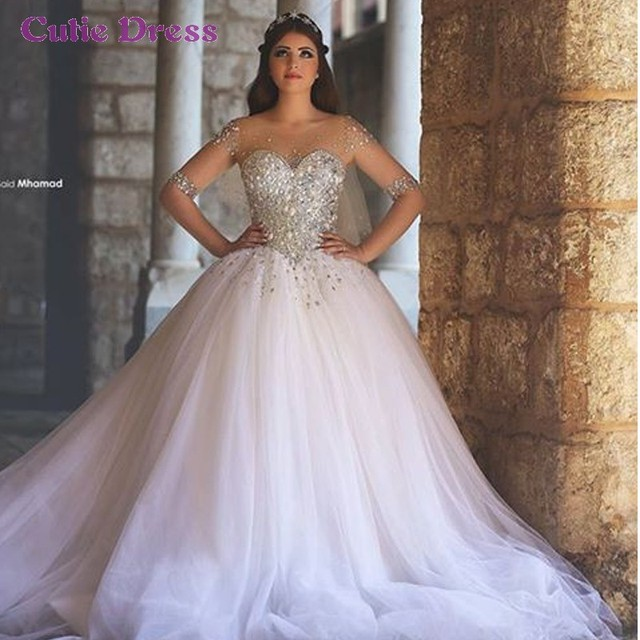 Ball Gown Arabic Wedding Dress With Half Sleeve Illusion Neckline Crystal Beaded Corset Bridal For