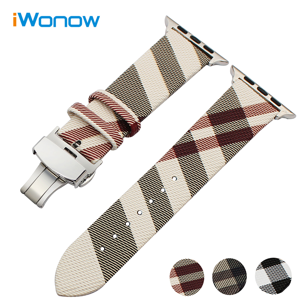 Genuine Leather Watchband For IWatch Apple Watch 38mm 42mm Series 1 2 Grid Pattern Replacement Band
