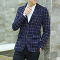 Estilo coreano de Los Hombres de la Chaqueta 2016 de La Marca de Moda A Cuadros Informal Chaqueta de Los Hombres Chaquetas de otoño Hombre 2 Botones Vestido de Slim Fit Traje Chaqueta Masculina