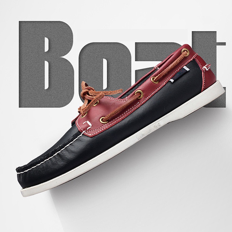 Men's Fashion Casual Lace-Up Driving Shoe Mixed color Work Loafer Handsewn Genuine Leather Boat Shoes for Male(China)