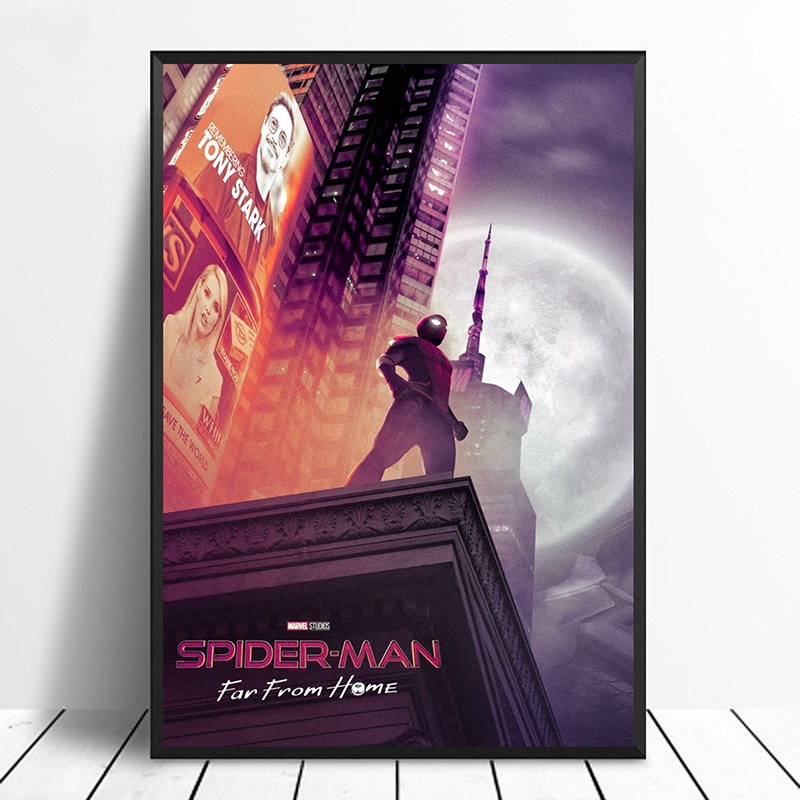 Spider-Man: Far From Home (2019) Avengers: Endgame iron Man Movie Poster Home Decor Wall Decor Wall Art Canvas Print A8