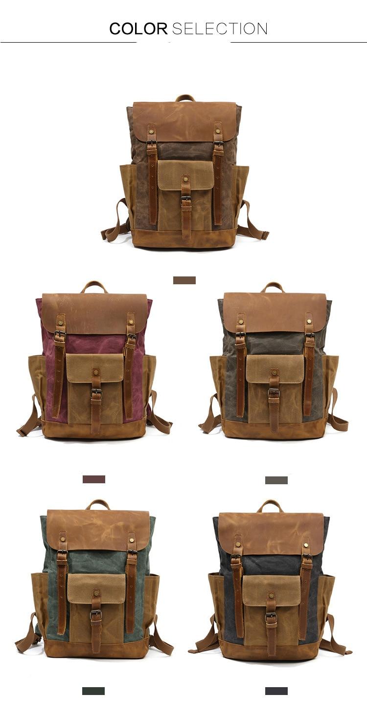 Retro Contrast Oil Wax Waterproof Canvas Bag Travel Backpack Computer Schoolbag Large Capacity Women Backpack 17