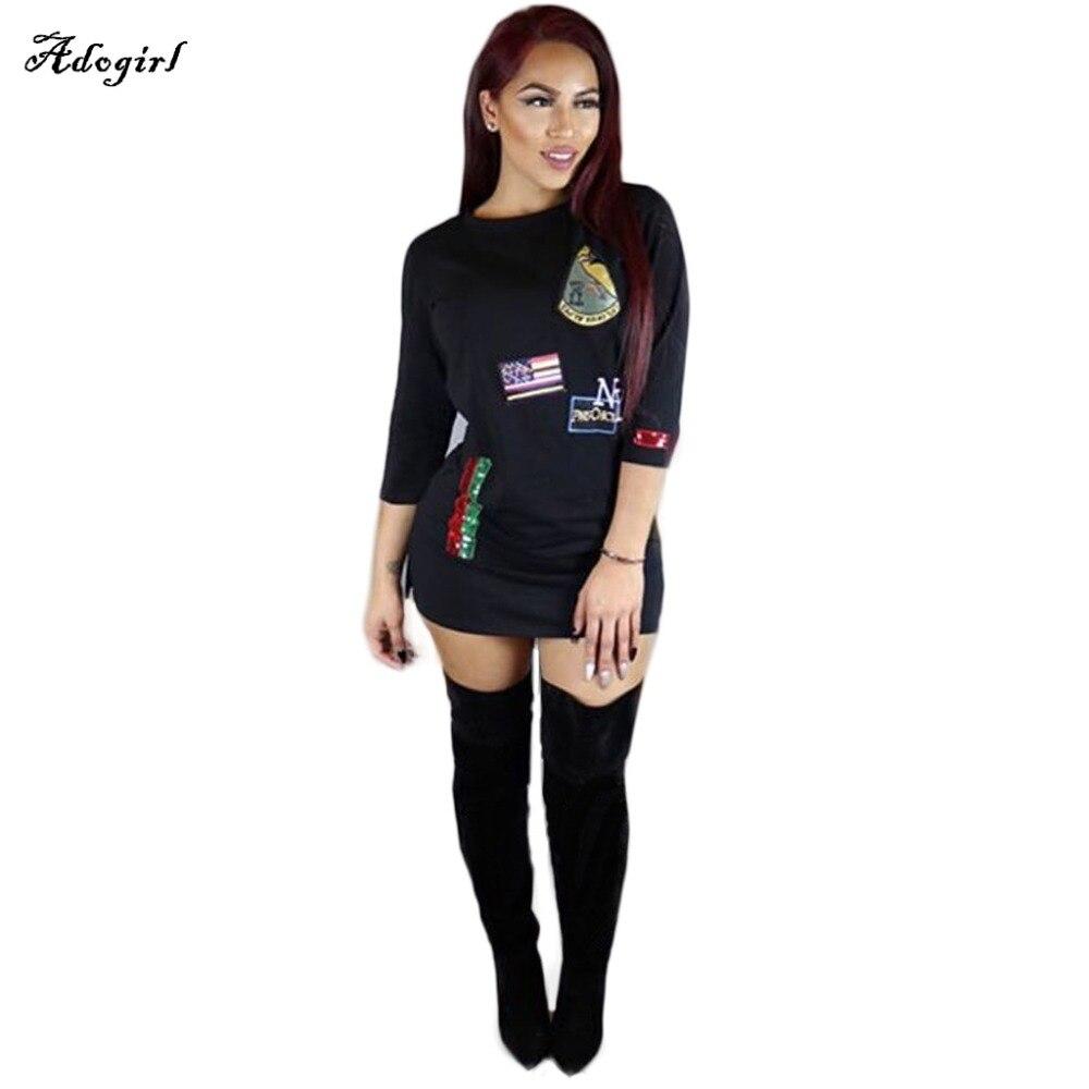 Black t shirt jersey dress - Fall Black White Appliques Half Sleeve Rose Letter Print Mini Jersey Casual Long T Shirt Dress Summer New Women Fashion Dresses