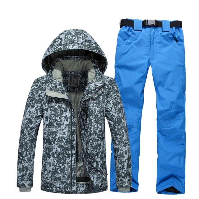 Зимний лыжный костюм Для мужчин открытый Термальность Водонепроницаемый ветрозащитный сноуборд Куртки Брюки для девочек Восхождение Снег Лыжный спорт комплект одежды Новинка 2017 года