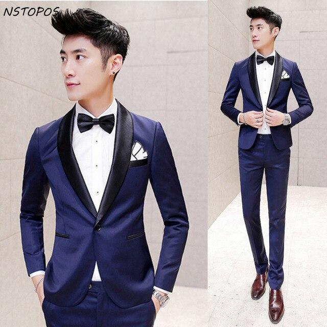 Aliexpress.com : Buy Blue Shiny Suit 2016 Suit Mens Tuxedos Black ...