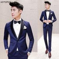 Blue Shiny Suit 2016 Suit Mens Tuxedos Black Latest Coat Pant Designs Smoking Suit Slim Fit Dinner Party Groom Prom Suit Ternos