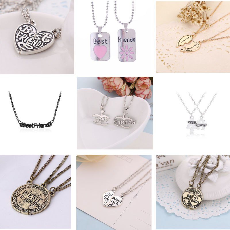 b749b0c169 2019 Fashion best friends necklace BFF pendant alloy creative birthday  gifts for best friend heart shape