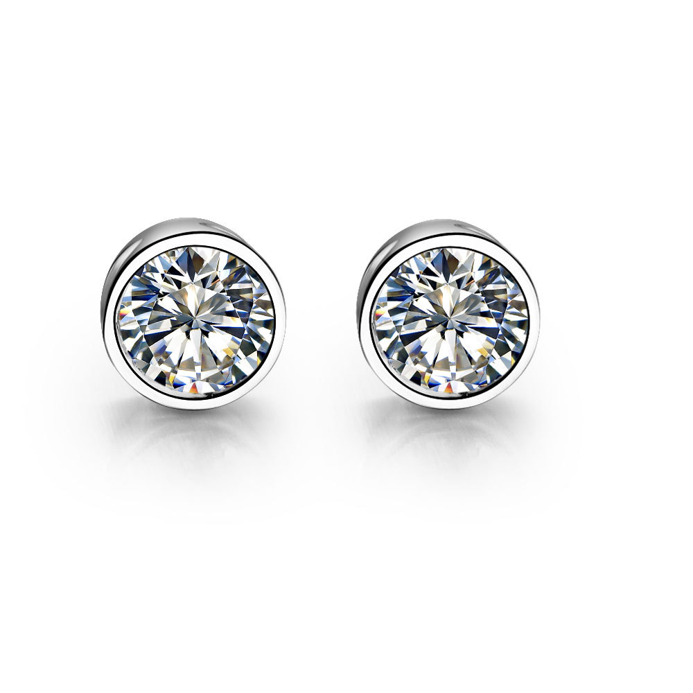Piece Sterling Silver 925 Earrings Stud Round Synthetic Diamonds  Stud Earrings