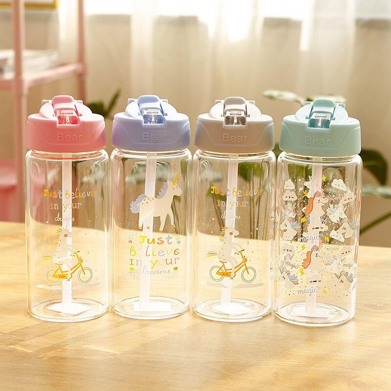 Garrafa de Água de Vidro unicórnio para Crianças com Palha e Tampa Flip Meninas Viagem À Prova de Vazamento de Garrafa de Bebida BPA Livre 300 ml, 400 ml