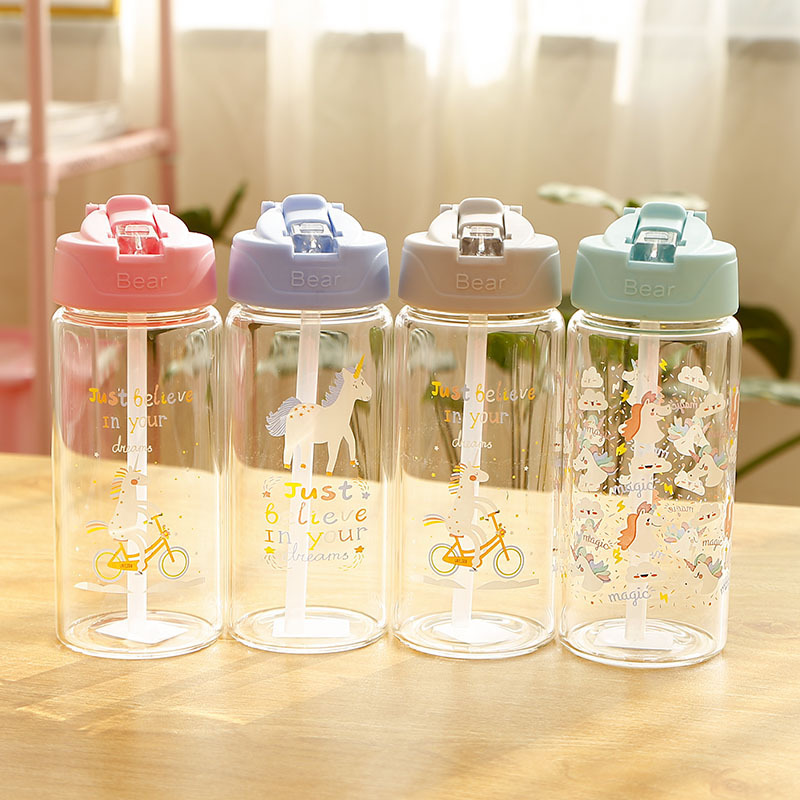 Unicorn Glass Water Bottle for Kids with Straw and Flip Lid Girls Leak Proof Travel Drink Bottle BPA Free 300ml, 400ml image