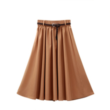 New Elegant Women Skirt High Waist Pleated Knee Length Vintage A Line Belt Sashes Summer Preppy Style 7 Colors