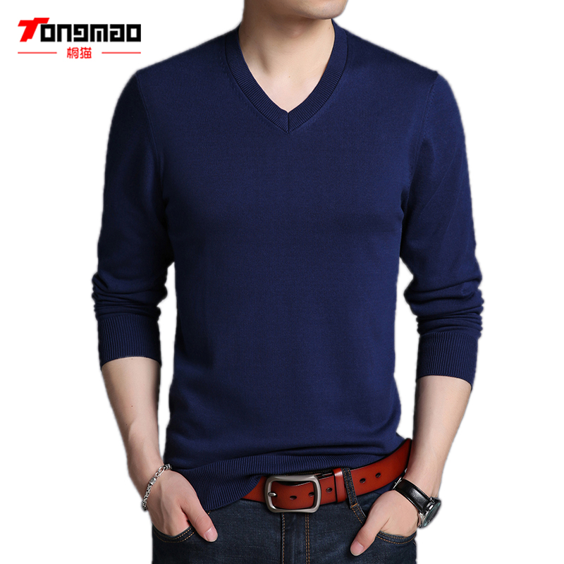 Autumn Winter Men Sweater 100 Combed Cotton Warm Soft V Neck Men Pullover Fashion Long Sleeve