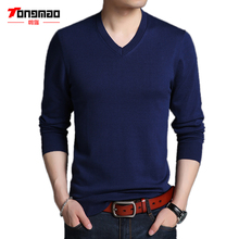 Autumn Winter Men Sweater 100% Combed Cotton Warm Soft V-Neck Men Pullover Fashion Long Sleeve Solid Color Mens Sweater Knitwear
