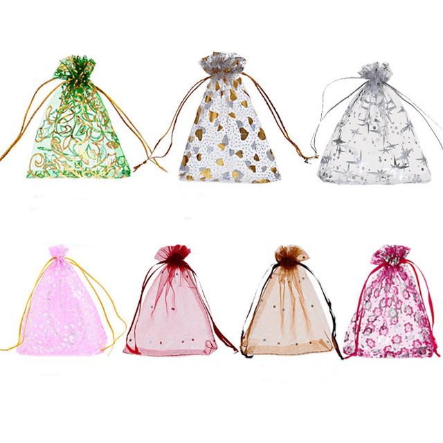 MJARTORIA 125PCs Christmas Organza Gift Bags Heart Flowers Organza Drawstring Pouch  Lovely Rectangle Jewelry Candy Bags 10x12cm