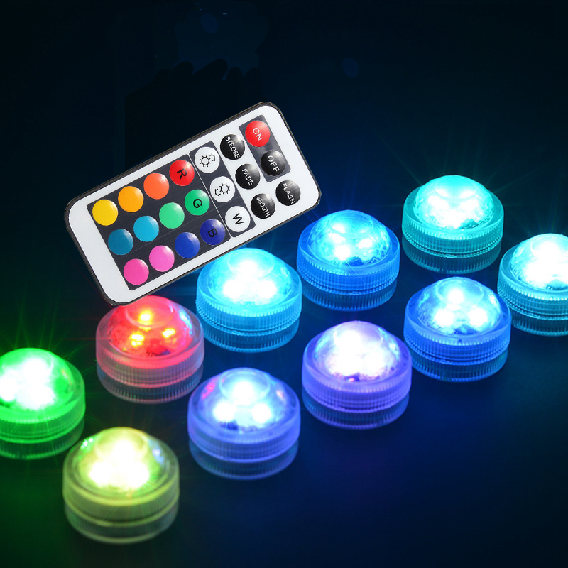 Underwater LED Light In/outdoor IP68 Waterproof Candle Lights 3cm Mini Pool Vase Lamp With Remote Control RGB Submersible Lamps