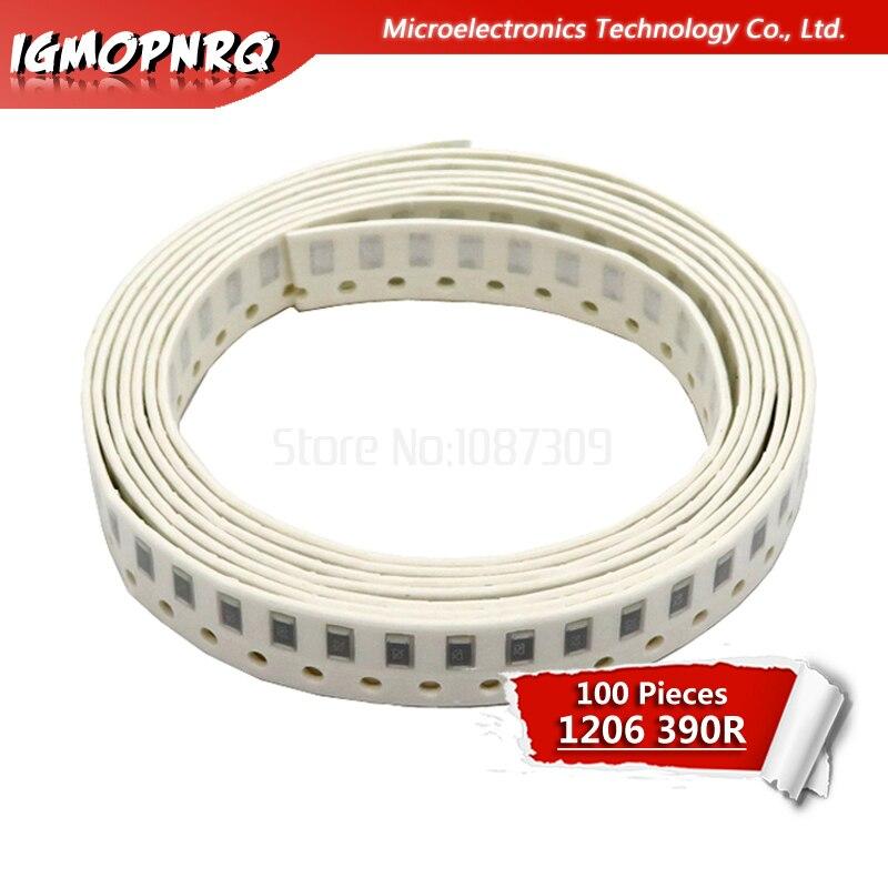 100 pièces 1206 Résistance SMD 5% 390 ohm résistance à puce 0.25W 1/4W 390R 391