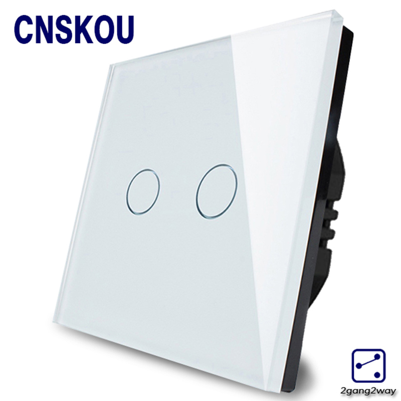 Cnskou EU Standard Touch Switch 2 Gang 2 Way Control Touch Switches White Crystal Glass Panel Wall Light Switch Manufacturer eu uk standard touch switch 3 gang 1 way crystal glass switch panel remote control wall light touch switch eu ac110v 250v