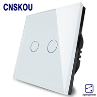 Cnskou EU Standard Touch Switch 2 Gang 2 Way Control Touch Switches White Crystal Glass Panel