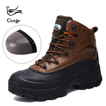 Cunge กลางแจ้งใหม่ Mens Steel Toe Cap ความปลอดภัยรองเท้าทำงานชาย Puncture Proof ความปลอดภัย Combat Boots Cowhide รองเท้า
