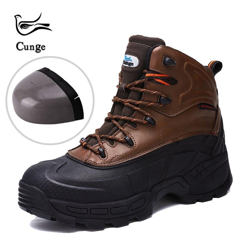 Cunge en plein air nouveaux hommes en acier embout de sécurité chaussures de travail hommes anti-crevaison Construction sécurité Combat bottes peau de vache chaussures de randonnée