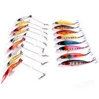 17pcs Set Mixed 2 Models Fishing Lures Kit Mixed Hard Minnow Lure And Soft Shrimp Bait