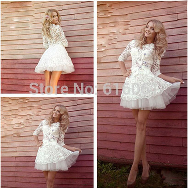 Bu 2016 Y Short Wedding Dress Above Knee Length Half Sleeve High Neck Lace Liques Crystal