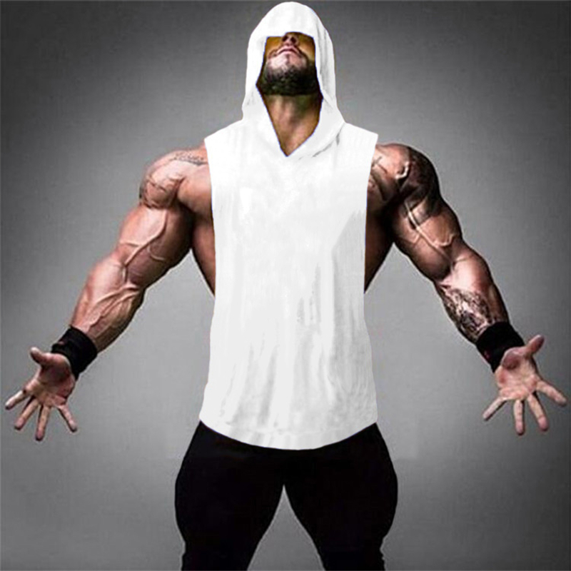 2019 Summer Plain Gyms   Tank     Top   Mens Bodybuilding Stringer hoodies Blank Vest Fitness Shirt 100% Cotton Solid Sleeveless   Tops
