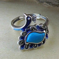 GZ Pure 925 Sterling Silver Garnet / Yellow Agate Turquoise Peacock Open Size Rings for Women S925 Thai Silver Ring Jewelry LR44