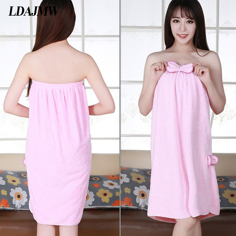 Ldajmw Winter New Coral Velvet Bra Bath Skirt Sexy Cute Bow Wear Towel Bathrobe Hair Salon Hotel