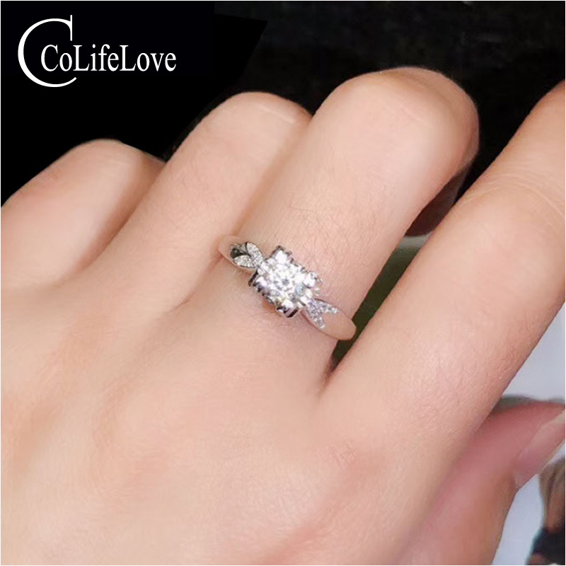 CoLife Jewelry Fashion Moissanite Ring For Office Woman 0.3ct Real VVS Grade Moissanite 925Silver Ring Silver Moissanite Jewelry