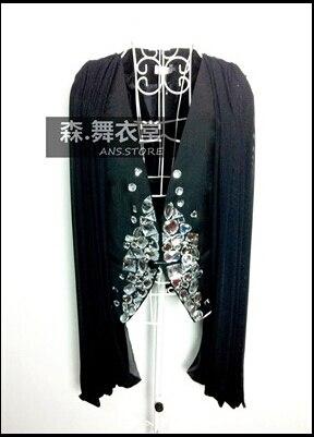Эксклюзивный обычный бар ночной клуб мужчины певица ds больше интегрированный значки носить жилет атмосферное камень костюмы ночные клубы одежда