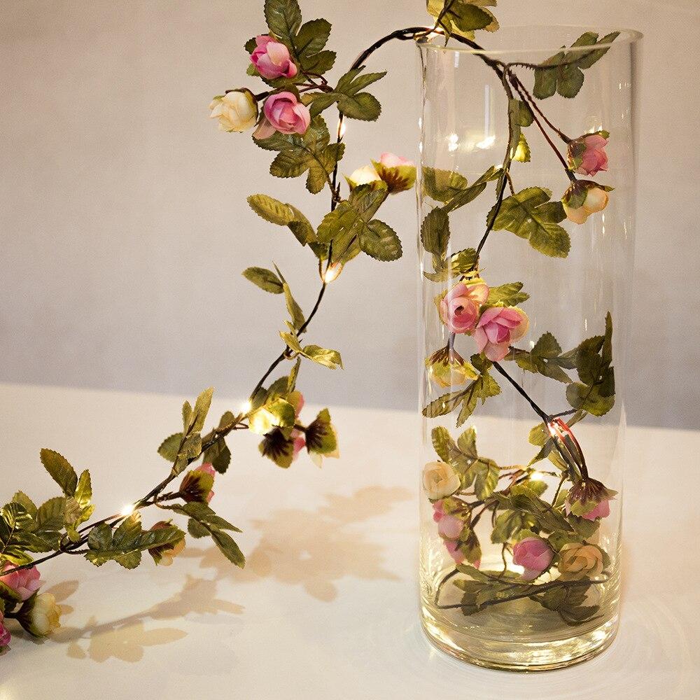 thrisdar 2 m 5 m de cobre led string fada natal luz diy artificial silk rose