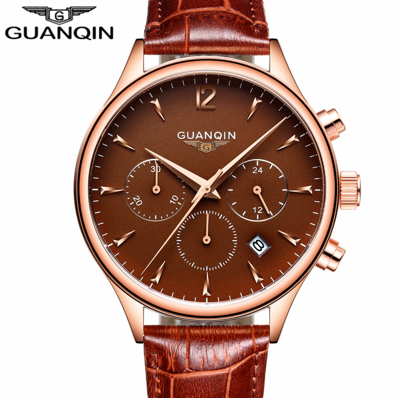 relogio masculino GUANQIN Mens Watches Top Brand Luxury Chronograph Date Quartz Watch Men Sport Casual Leather Strap Wristwatch multi function outdoor sport compass quartz watches men top brand casual fabric strap wristwatch high quality relogio masculino