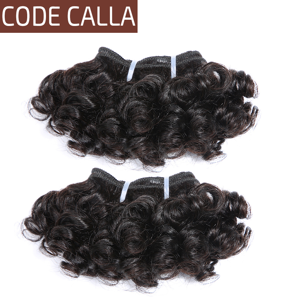 Code Calla Pre-Colored Indian Raw Virgin Human Hair Bundles Bouncy Curly 6PCS Can Make A Wig Kid's Hairstyle for Little Girl