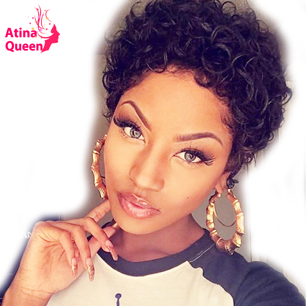 Short Curly Lace Front Human Hair Wigs PrePlucked Brazilian Pixie Cut Bob Wig Remy Human Wig