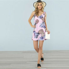 Summer Strap Dresses 2019 New Women Casual Pineapple Print Sleeveless V-Neck Loose Short Dress