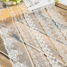 One Meter / High Quality White Lace Ribbon Fabric Home Decorating Artificial Embroidered Decorative Material