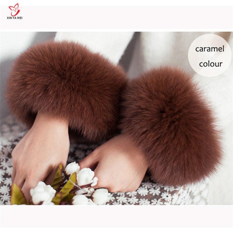 High Quality Fox Fur Cuffs Hot Sale Wrist Warmer Genuine Fox Fur Cuff Arm Warmer Lady Bracelet Real Fur Wristband Glove HY83L