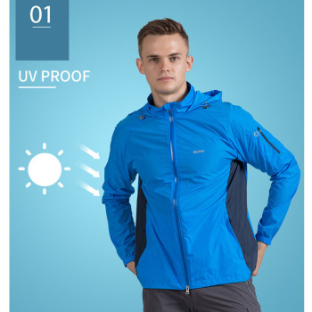 Outto Men's Quick Dry Skin Jackets Coats Outdoor Sports Clothing Camping Hiking Jacket Waterproof Anti-UV