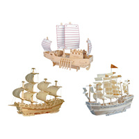 Chanycore Baby Learning Educational Wooden Toys 3D Puzzle Ancient Warships Sailboat Merchant Ship Boat Kids Gifts