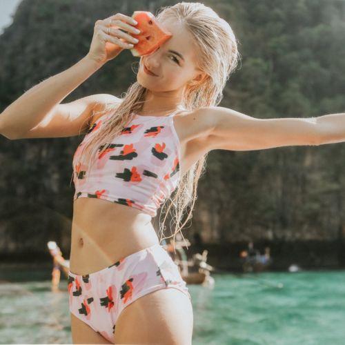 2 Stücke Baby Set 2018 Sommer Frauen Hohe Taille Dreieck Gepolsterter Bh Push-up Bademode Bikini Badeanzug Bade