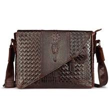 2016 Top-Qualität aus echtem Leder Rindsleder Männer Messenger Schulter Cross Body Krokoprägung Stil Luxus Business Vintage Tasche