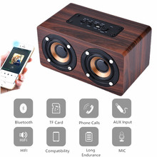 Retro Wooden Bluetooth Speaker HIFI Wireless Speaker 3D Dual Loudspeakers Surround Mini Portable altavoz bluetooth USB Charging
