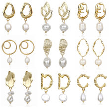 EK521 Pearl Drop Earring for Women Geometric Gold Color Metal Earring Statement Jewelry ZA Women Valentine's Day Gift Wedding(China)