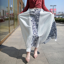Vintage Print Elastic High Waist Korean Women Long Skirts Black White Maxi Pleated Skirt Saias Fadalas