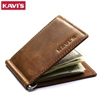 KAVIS Slim Genuine Leather Money Clip Brand Men Women Bifold Male Purse Billfold Wallet Female Clamp