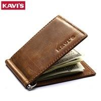 KAVIS Slim Genuine Leather Money Clip Brand Men Women Bifold Male Purse Billfold Wallet Female Clamp