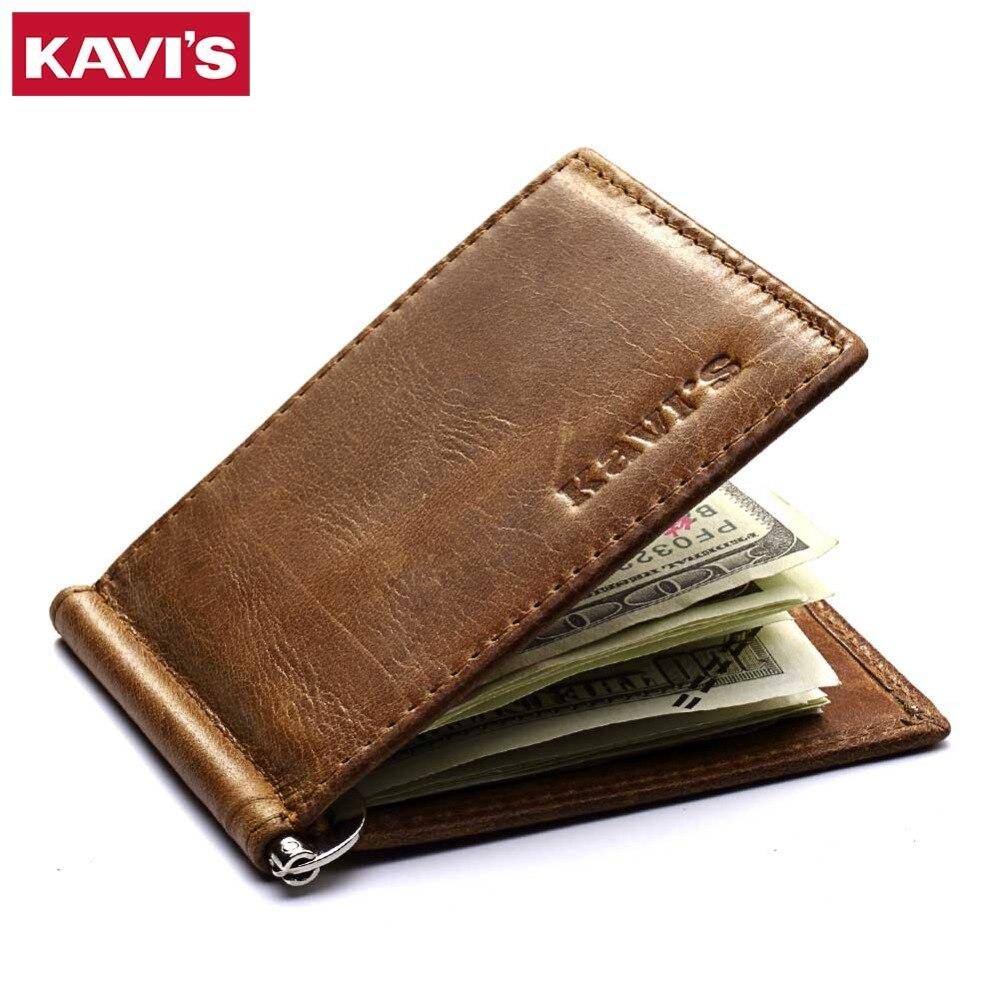 KAVIS Slim <font><b>Genuine</b></font> Leather Money <font><b>Clip</b></font> Brand Men Women Bifold Male Purse Billfold Wallet Female Clamp for Money Bills Cilp