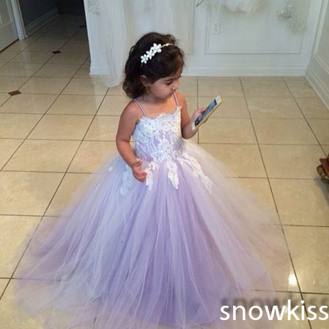 abc442104 Beautiful lilac long lace appliques spaghetti straps flower girl dresses  graceful pleated wedding birthday party ball gowns