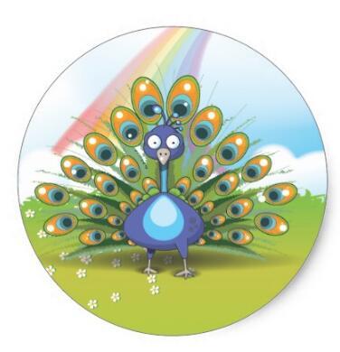 Купить с кэшбэком 1.5inch Peacock Classic Round Sticker 2
